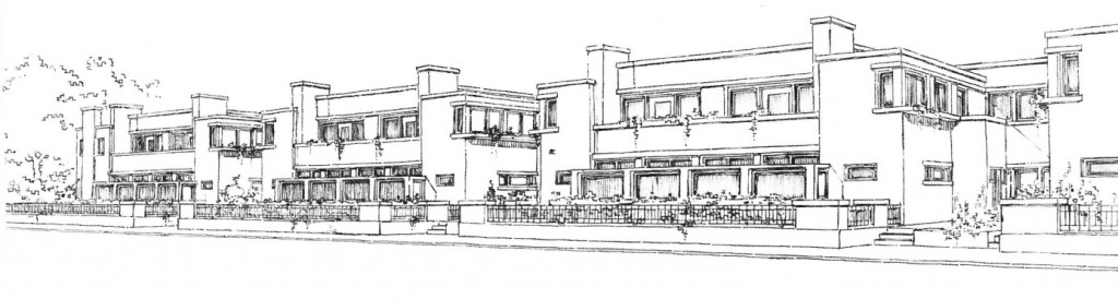 Ontwerp van J.J.P. Oud van arbeiderswoningen aan de strandboulevard van Scheveningen.