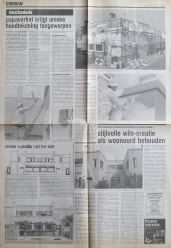 Papaverhof krijgt unieke handtekening toegeworpen Cobouw  25-5-1989